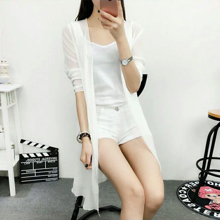 夏季新款雪紡防曬衣女海邊度假韓版中長款薄外套沙灘空調開衫大碼