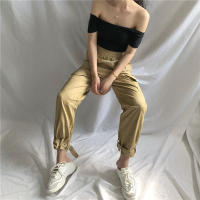 ins街头嘻哈纯色宽松男女学生口袋工装裤休闲系带直筒裤束脚裤潮