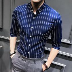 【今日特价网】夏季男士条纹衬衫七分袖韩版商务休闲衬衣男装修身时尚五分袖衬衣