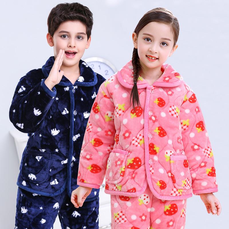 男女儿童三层夹棉加厚法兰绒<font color='red'><b>睡衣</b></font>套装