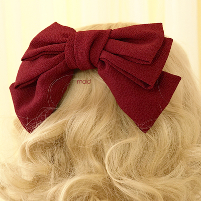 taobao agent 【Free shipping】Miss jk Japanese super large bow seersucker three-layer hairpin Lolita side clip