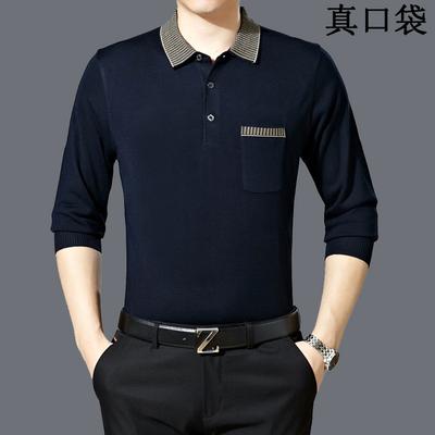 Mùa xuân và mùa hè trung niên 35-45 nam 60 dài tay T-Shirt 50 tuổi cha 60 trung niên 40 cha từ bi quần áo áo thun có cổ nam Áo phông dài
