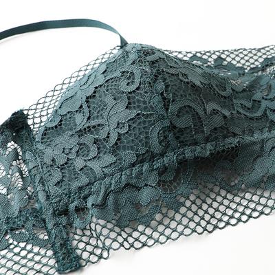少女美屋秋冬性感薄款抹胸式文胸蕾丝薄杯聚拢露肩内衣墨绿色胸罩