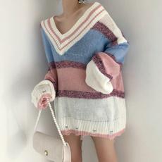 实拍实价 秋装新款V领亮丝宽松条纹长袖毛衣 拼色针织衫