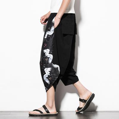 Retro linen nam quần Trung Quốc phong cách cắt quần Zen Hanfu quần harem quần lỏng thường cây ra hoa phong cách cổ xưa Quần Harem