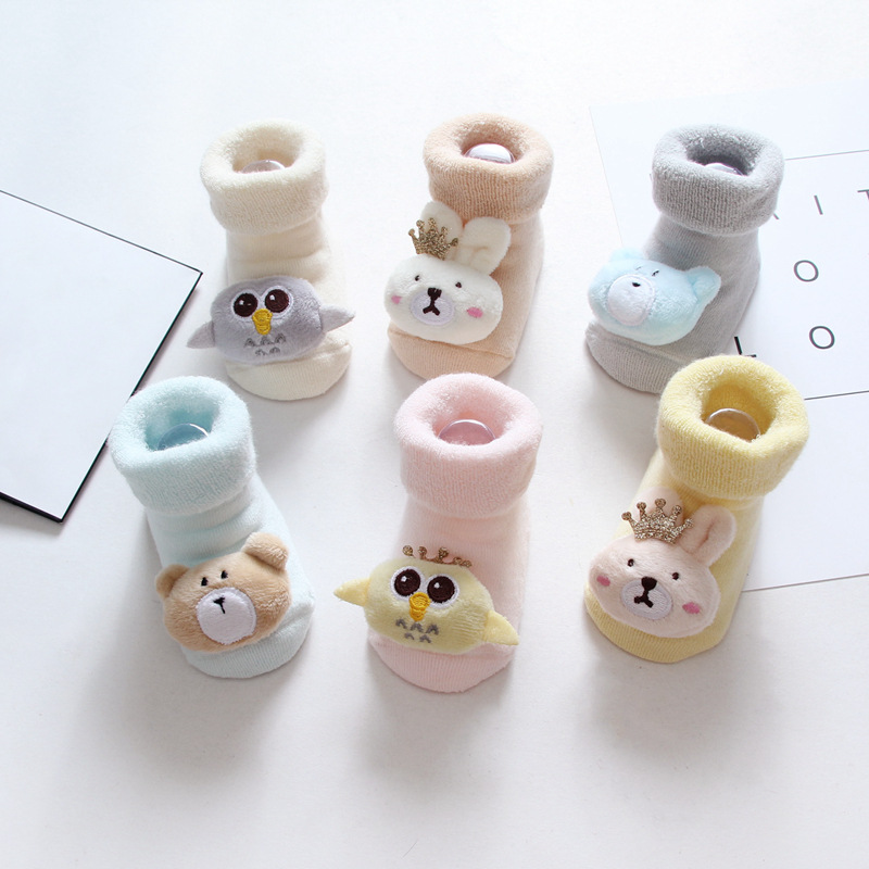 2双装宝宝毛圈袜子冬婴儿加厚毛圈加绒童袜新生儿保暖松口纯棉袜
