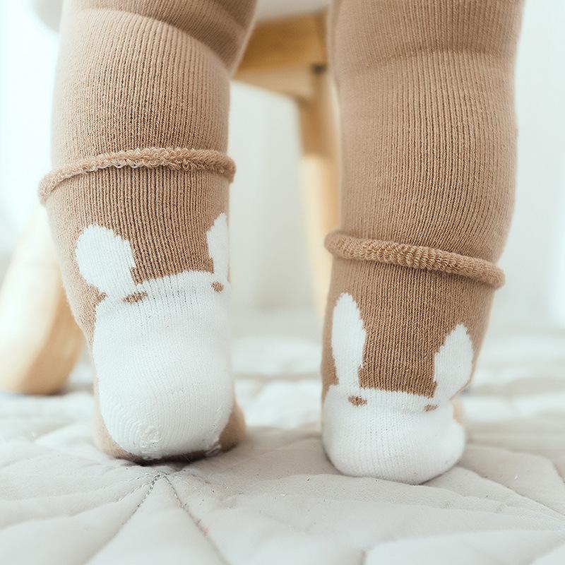 宝宝护膝袜子婴儿纯棉加厚毛圈过膝中高筒儿童爬行袜防滑加长袜套