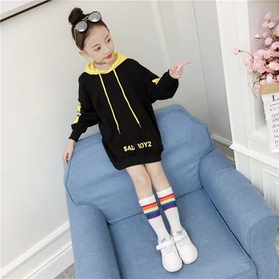 女童加绒加厚卫衣新款秋冬装中大童洋气儿童中长款保暖上衣潮