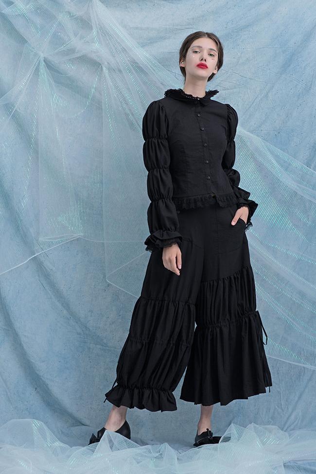 ODD PSYCHE 独立设计师 黑色条纹复古风不规则褶皱阔腿九分裤