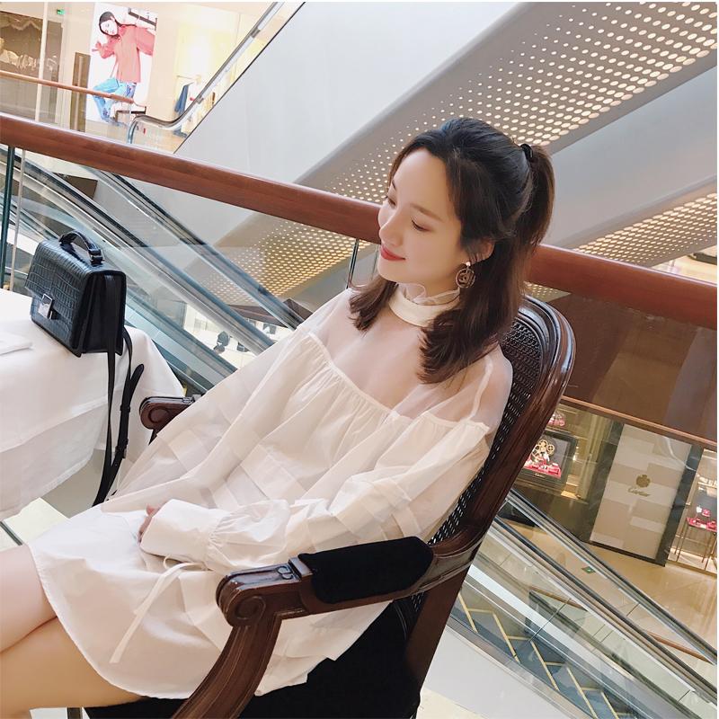 [薄纱拼接]透明网纱荷叶领娃娃连衣裙