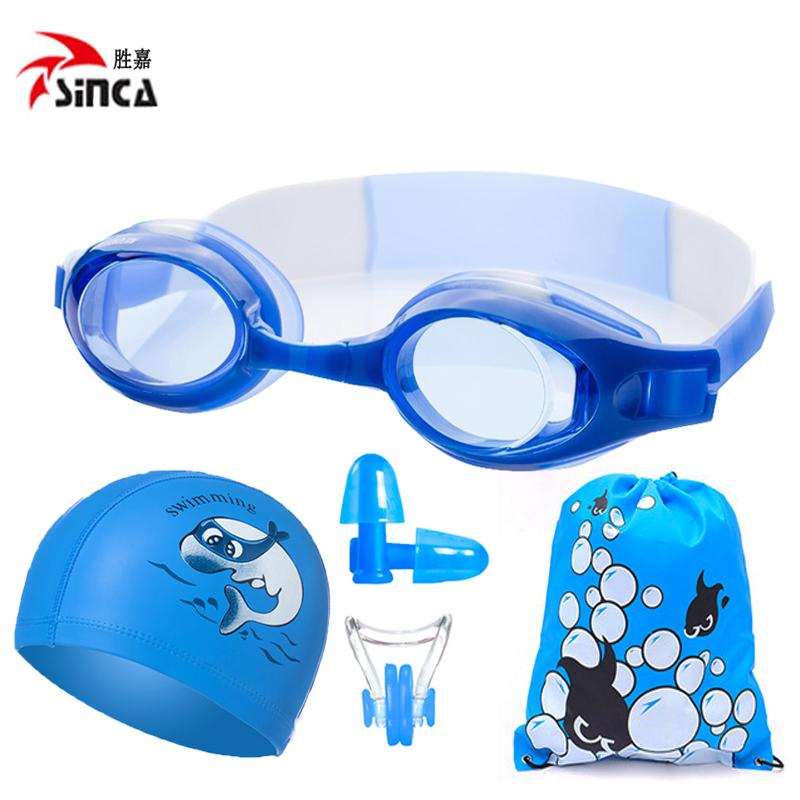 Vàng nước chuyên nghiệp kính bơi trẻ em không thấm nước chống sương mù HD chàng trai và cô gái trẻ em bơi kính bơi cap set