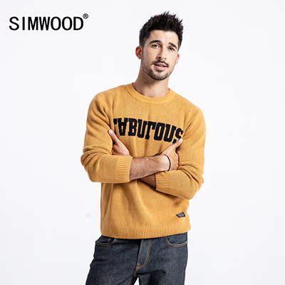 Simwood đơn giản quần áo nam 2018 thu đông mới chữ cái áo len jacquard giản dị áo thun tròn cổ áo len nam - Hàng dệt kim
