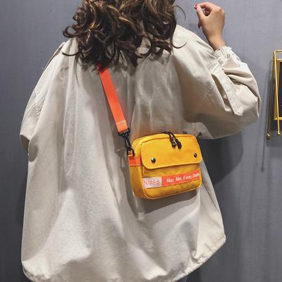 帆布小包包女包新款单肩小方包帆布斜挎包少女蹦迪网红小黑包