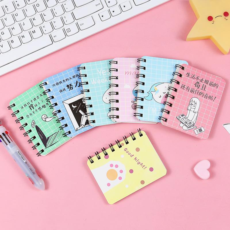 可爱卡通随身记事本便携式迷你小号笔记本韩国文具学生侧翻线圈本