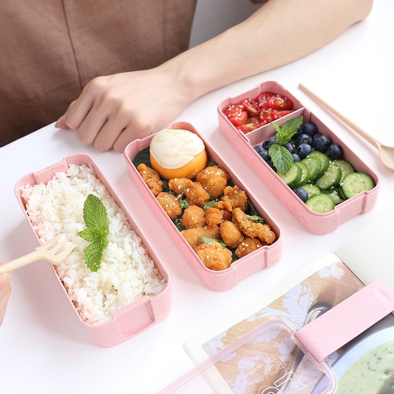 日式小麦秸秆多层便当盒小号便携学生午餐饭盒分格餐盒成人便当盒
