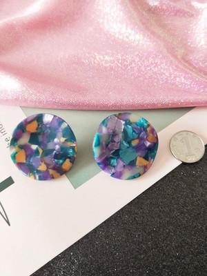 韩国ANNA安娜同款醋酸耳钉小众设计网红波浪圆形亚克力复古耳环