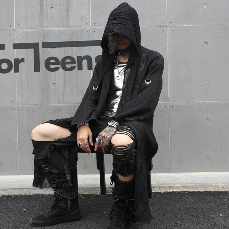 2019春夏男中长款宽松长袖衬衫国潮暗黑系舞台发型师服装 C53 P95