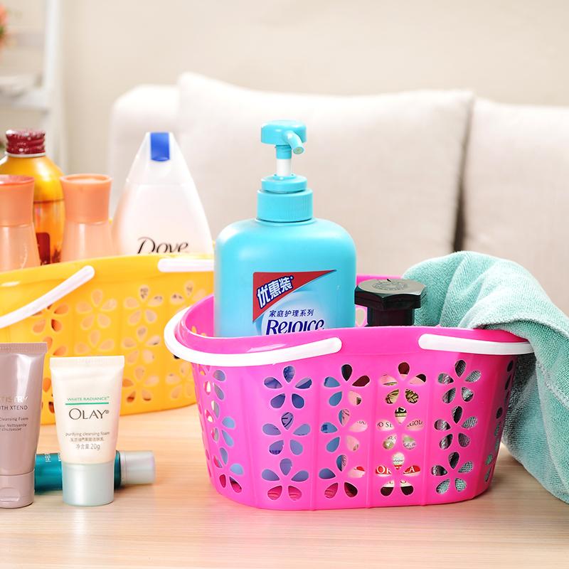 手提篮沐浴洗浴篮子收纳篮洗澡用的塑料洗漱篮收纳筐浴室提篮