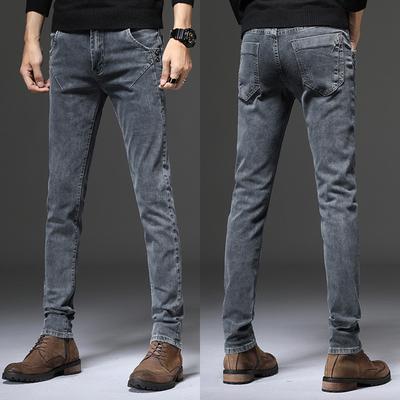 男士弹力灰色牛仔裤小脚裤