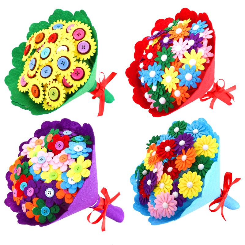 纽扣花束儿童幼儿园手工DIY制作材料包康乃馨扣子画教师节礼物