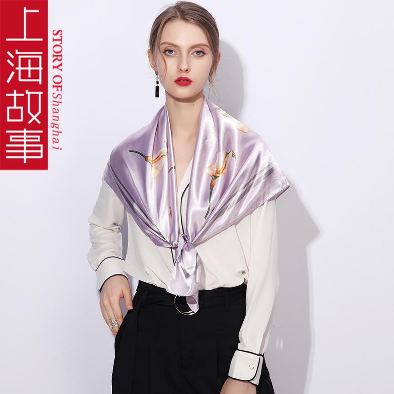 上海故事小丝巾搭配西装装饰女90x90cm方巾教师节礼物老师实用的