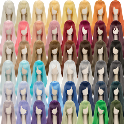 taobao agent Universal long straight hair 60cm black and white gray pink yellow blue green purple brown daily medium long straight hair Cos wig 48 colors
