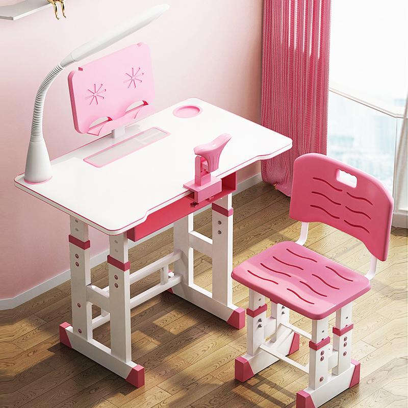 儿童书桌书柜组合学习桌女孩小学生写字桌椅套装家用男孩作业课桌