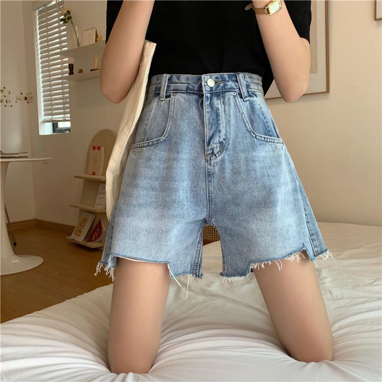 实拍实价韩版新款宽松阔腿高腰显瘦夏季牛仔短裤