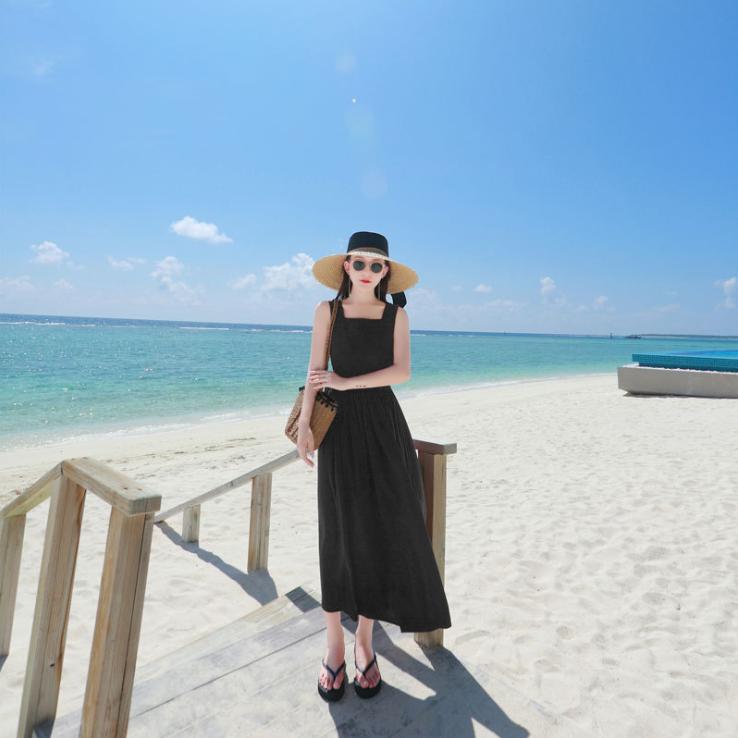 夏新款海边度假沙滩裙子仙女长裙旅游很仙的露背连衣裙显瘦潮