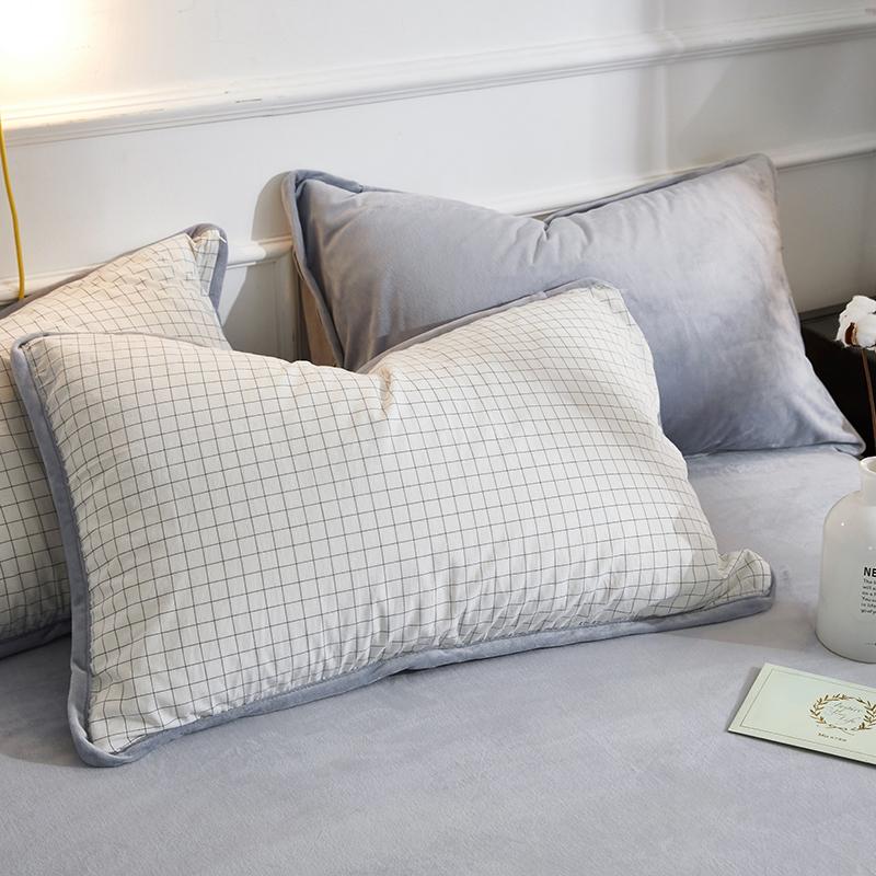 双面可用枕套一面天鹅绒一面纯棉水洗棉 拉链单人枕套48x74cm1对