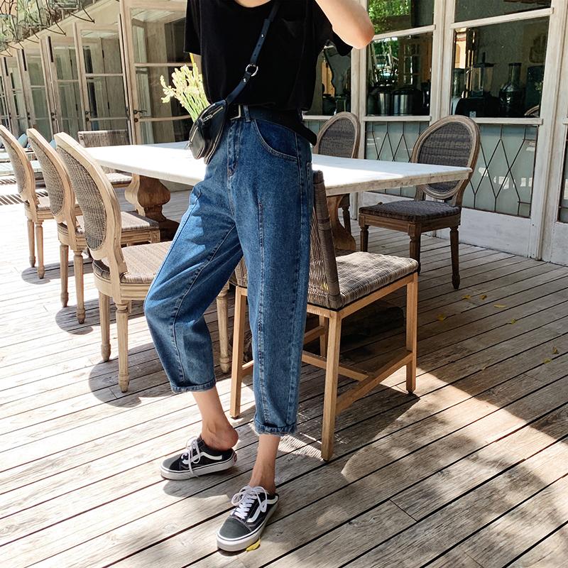 于momo春装款女配腰带少女牛仔奶奶裤舒适百搭宽松卷边裤子
