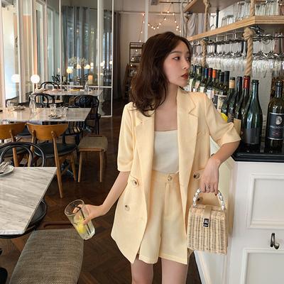 于momo夏装新品优雅小香风马甲半裙套装时尚甜美温柔亚麻外套