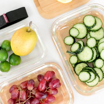 日式竹木盖玻璃保鲜碗装保鲜盒餐具密封便当饭盒带拉带微波炉冰箱