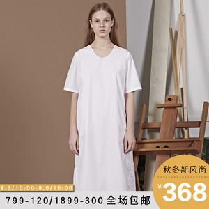 Giang nam thường năm 2018 mùa hè mới đơn giản lỏng lẻo ladies vòng cổ bông vá ngắn tay đầm 5H350043