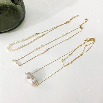 手工天然异性小珍珠巴洛克仙锁骨链长项链多层简约复古精致叠链