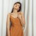 Dưới ánh mặt trời dưới ánh mặt trời | cam vest đầm eo cao đầm retro nhẹ nhàng gió v- cổ dây đeo đầm nữ váy đầm
