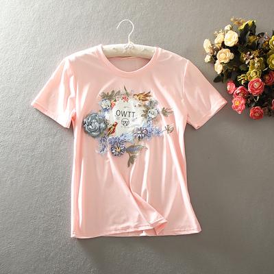 新款复古文艺时尚亮片刺绣立体花朵印花短袖T恤女百搭休闲上衣夏