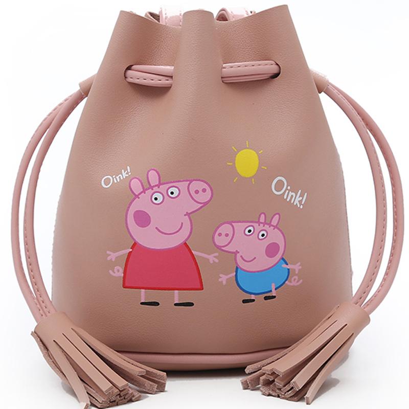 上新包包女2018夏新款社会人小猪佩奇水桶包可爱少女单肩斜挎小包