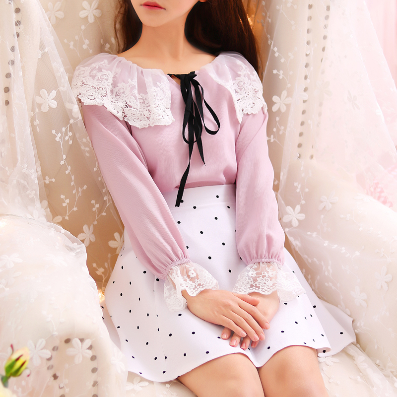 Cute japanese sweet t shirt lace bow mori girl lolita for Cute japanese t shirts