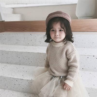 男女儿童针织衫韩国童装冬季新款套头洋气宝宝打底衫毛衣