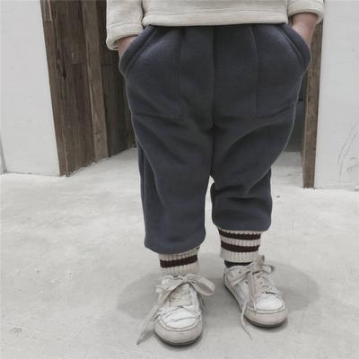 宝宝秋冬裤子童装婴儿衣服洋气毛线针织裤男女童拼接运动裤子