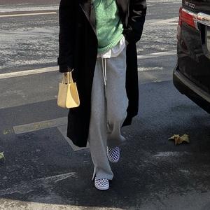 秋冬开叉两穿运动裤加绒女裤宽松直筒休闲春长裤显瘦垂感阔腿裤