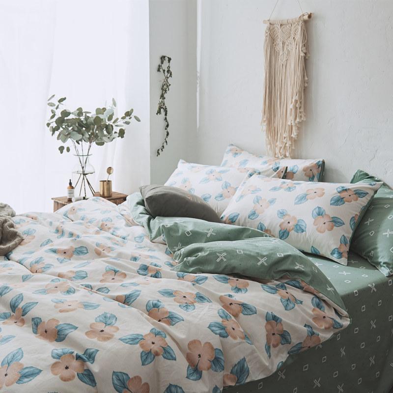 美式田园全棉四件套小清新碎花纯棉被套床单床笠学生宿舍床上用品