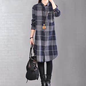 2018新款秋季韓版寬松大碼女裝格子襯衣長袖顯瘦女士襯衫裙