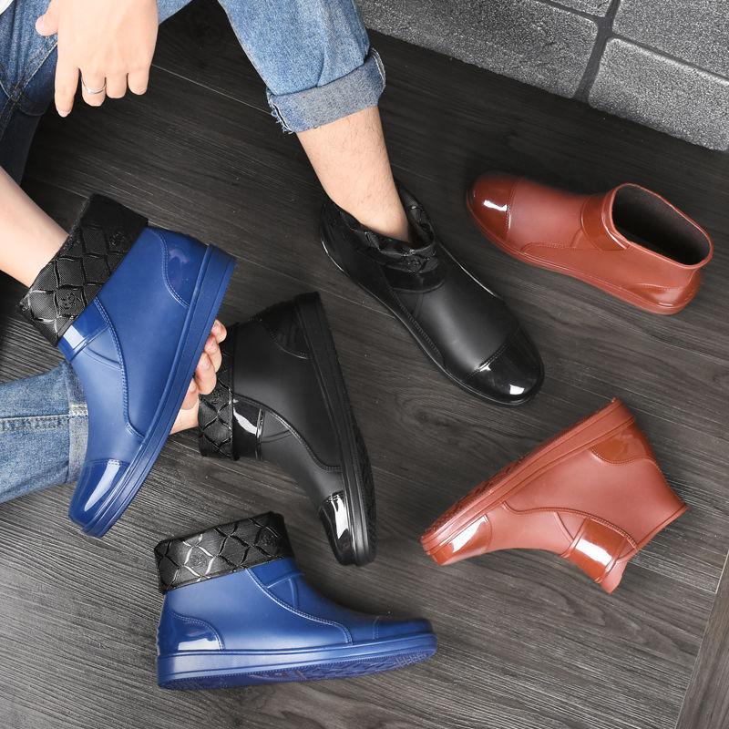 短筒雨鞋男士加絨雨靴水鞋男防水鞋水靴防滑保暖男廚房工作鞋膠鞋