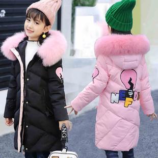 英倫風童裝女童棉服中長款棉衣兒童冬裝外套