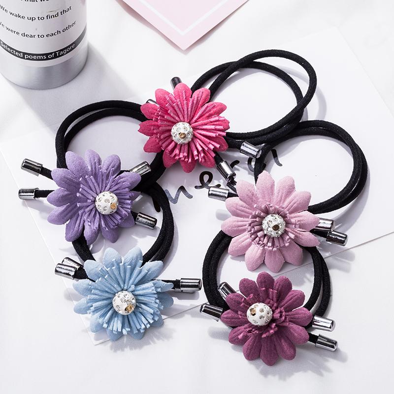 韩式皮质花朵发饰女生蝴蝶结发绳头绳皮筋简约高弹力品质饰品ZE型