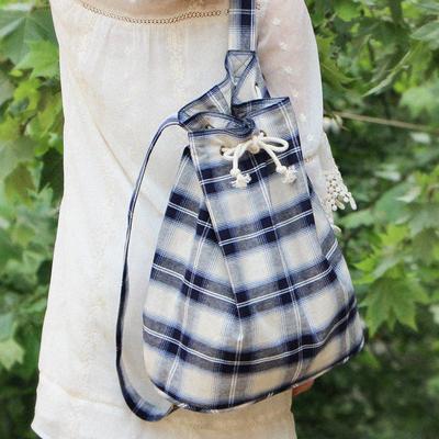 青鹿 风清月朗复古花型 束口双肩包 原创设计布包背包 轻便女包