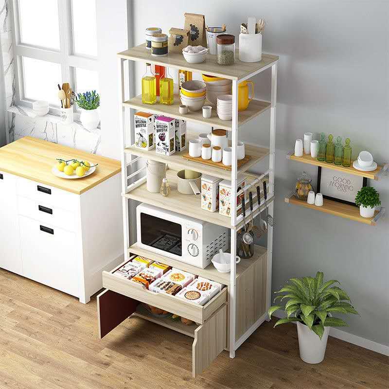 厨房置物架落地多层收纳架放微波炉烤箱