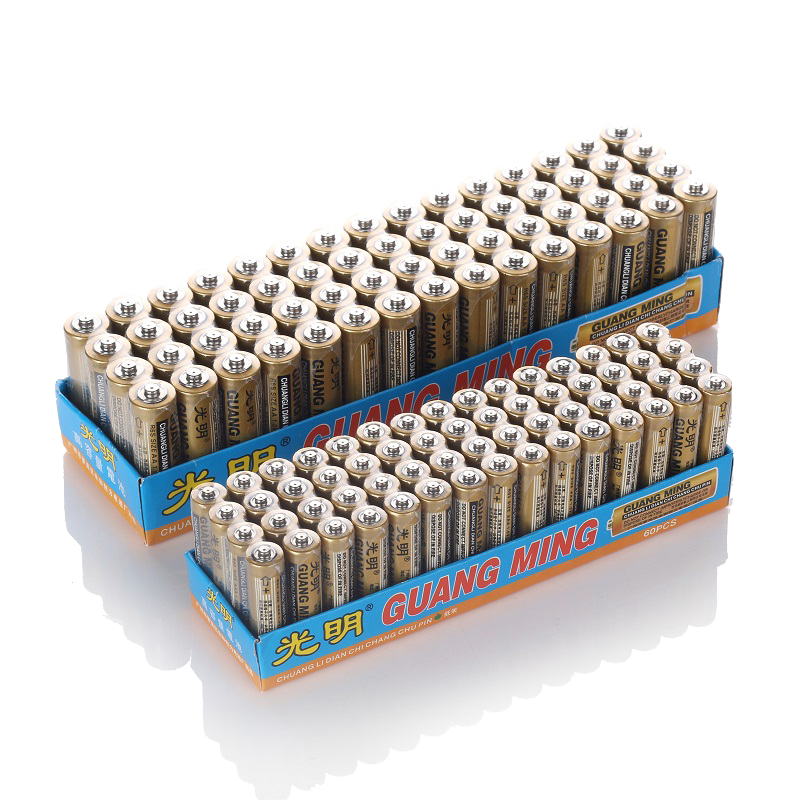 正品光明AA碳性干电池5号7号共60节